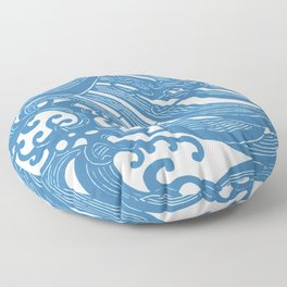 Stencil with Pattern of Waves,19th century Japan (Edited Blue) Floor Pillow