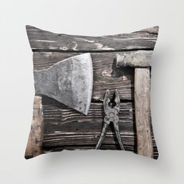 Old rusty tools Throw Pillow