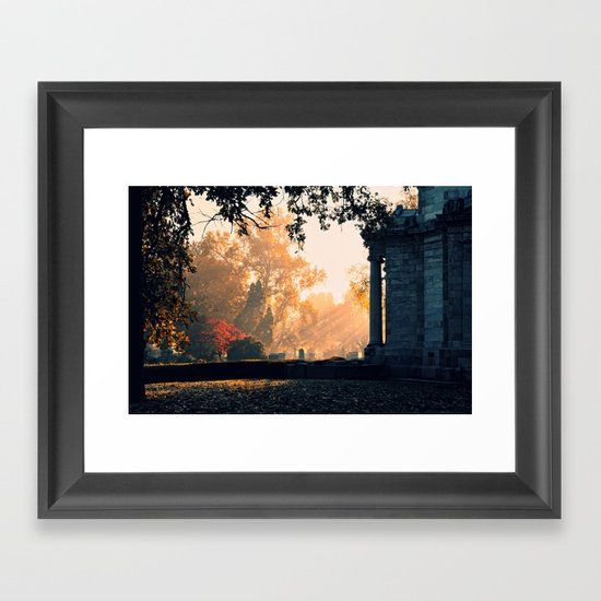 Fall morning at Green Lawn Framed Art Print