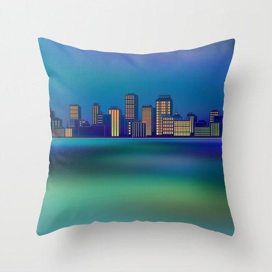 Seaside Cityscape Throw Pillow