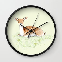 Happy Fallow Deer Wall Clock