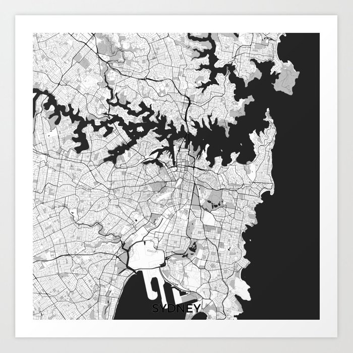 Sydney city map gray art print