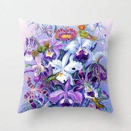 Orchids & Hummingbirds Throw Pillow