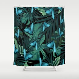 Tropical Butterfly Jungle Night Leaves Pattern #5 #tropical #decor #art #society6 Shower Curtain