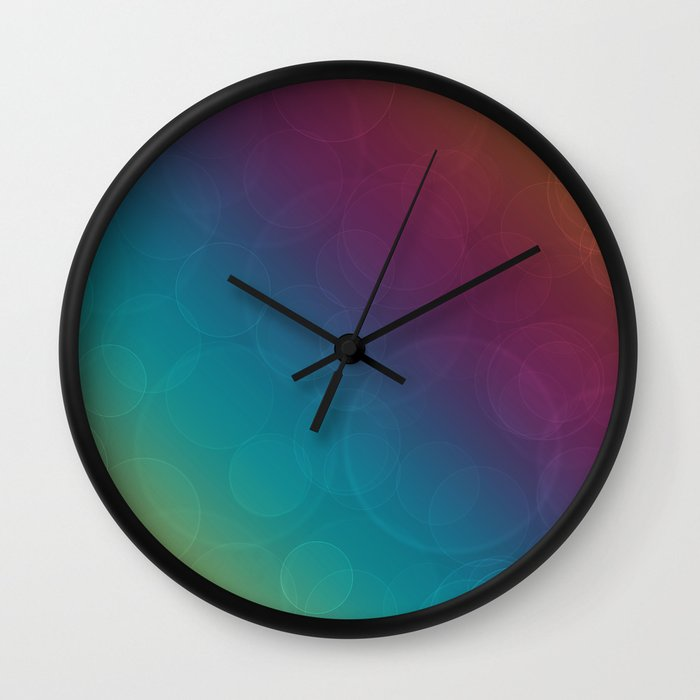Bohek Bubbles on Rainbow of Color - Ombre multi Colored Spheres Wall Clock