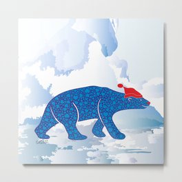 Polarbear in Love Metal Print