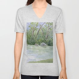 Lake Landscape Watercolor  Unisex V-Neck