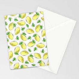Lemon Watercolor Pattern Stationery Cards