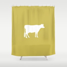 Cow: Mustard Yellow Shower Curtain