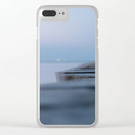 Wooden planks on the beach Clear iPhone Case