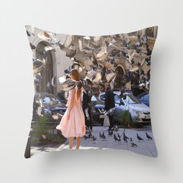 The Girl with Doves Throw Pillow