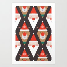 Day 03/25 Advent - Santa & Rudolph Art Print