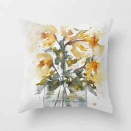 Essence of Daffodil in Watercolor Throw Pillow