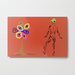 Flower With Male Metal Print
