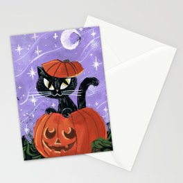 Halloween Black Kitten Cat Pumpkin Stationery Cards
