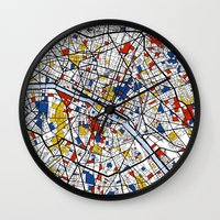 paris Wall Clocks featuring Paris by Mondrian Maps