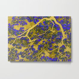 Colourful blue and yellow trees Metal Print