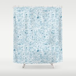 Blue and White Space Inspired Futuristic Pattern Shower Curtain
