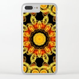 Red and Gold Brooch Clear iPhone Case