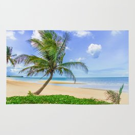 Palm tree on tropical beach, Prachuap Khiri Khan, Thailand Rug