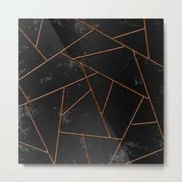 Abstract shapes with orange lines and black gradient background Metal Print