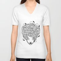 medusa V-neck T-shirts featuring Medusa by Nina Martinez