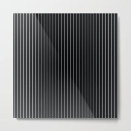 Black Linen Sterling Luna Song Pinstripe Metal Print