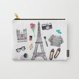 Watercolor Paris Fashion Items - Eiffel Tower Carry-All Pouch