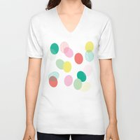 eggs V-neck T-shirts featuring Easter Eggs by K&C Design