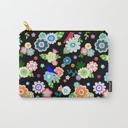 Whimsical Spring Flowers in Black Carry-All Pouch