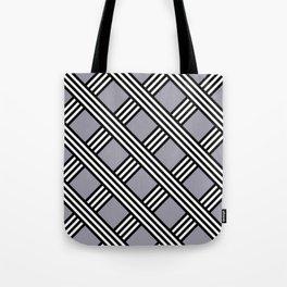 Pantone Lilac Gray, Black & White Diagonal Stripes Lattice Pattern Tote Bag