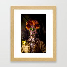 Day of the Dead Skeleton Lady with Beautiful Red and Orange Floral Crown Framed Art Print