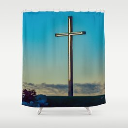The Cross on the Hill Shower Curtain