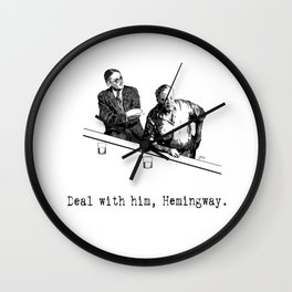 James Joyce x Ernest Hemingway - Drunken Shenanigans Painting Wall Clock