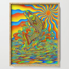 Psychedelic Rainbow Trout Fish Serving Tray