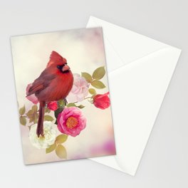 Male Northern Cardinal in the rose garden Stationery Cards
