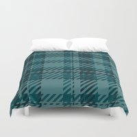 plaid Duvet Covers featuring Plaid by Xiao Twins