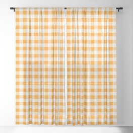 Gingham Orange and White Pattern Sheer Curtain