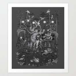 Party Animals - Monotone Version Art Print