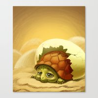 sea turtle Canvas Prints featuring turtle by Antracit