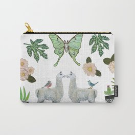 Llama and Luna Moth Carry-All Pouch