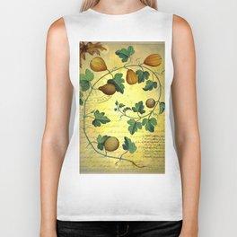 Vintage Botanical Collage, Autumn Pumpkins Biker Tank