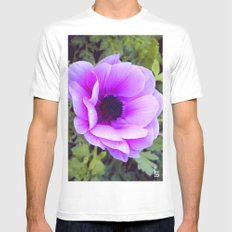 Pink Poppy Anemone I MEDIUM White Mens Fitted Tee