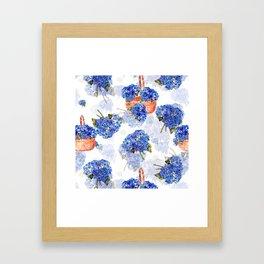 Cape Cod Hydrangeas and Baskets Framed Art Print