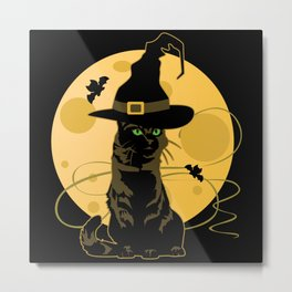 Witches Cat Moonlight Metal Print