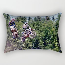 Closing In - Motocross Racers Rectangular Pillow