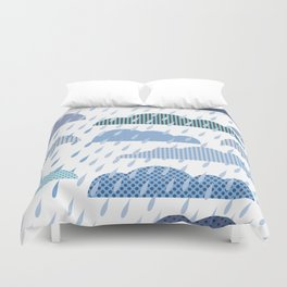 Rainy seamless pattern with clouds Duvet Cover