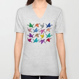 Origami Cranes Colorful Palette Unisex V-Neck