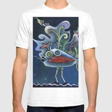 fishes White Mens Fitted Tee MEDIUM
