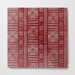Line Mud Cloth // Maroon Metal Print